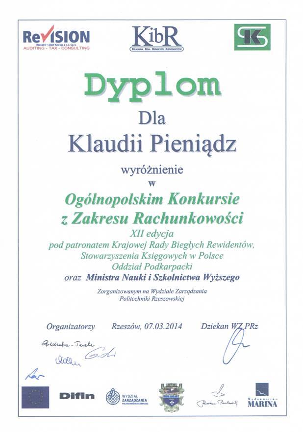 Klaudia Pieniądz zdobyła wyróżnienie i indeks na Politechnikę  Rzeszowską