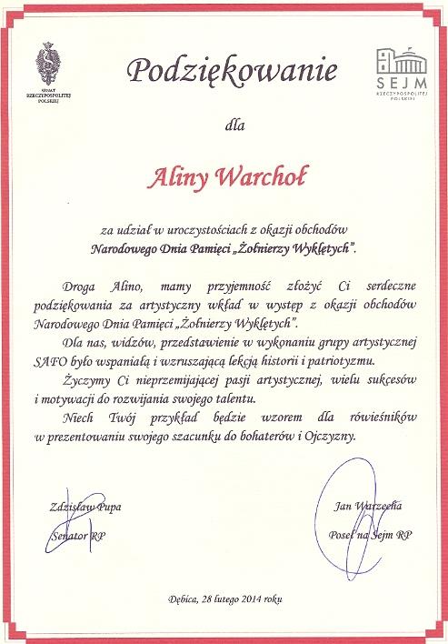 Podziękowania od Posła Pana Jana Warzechy
