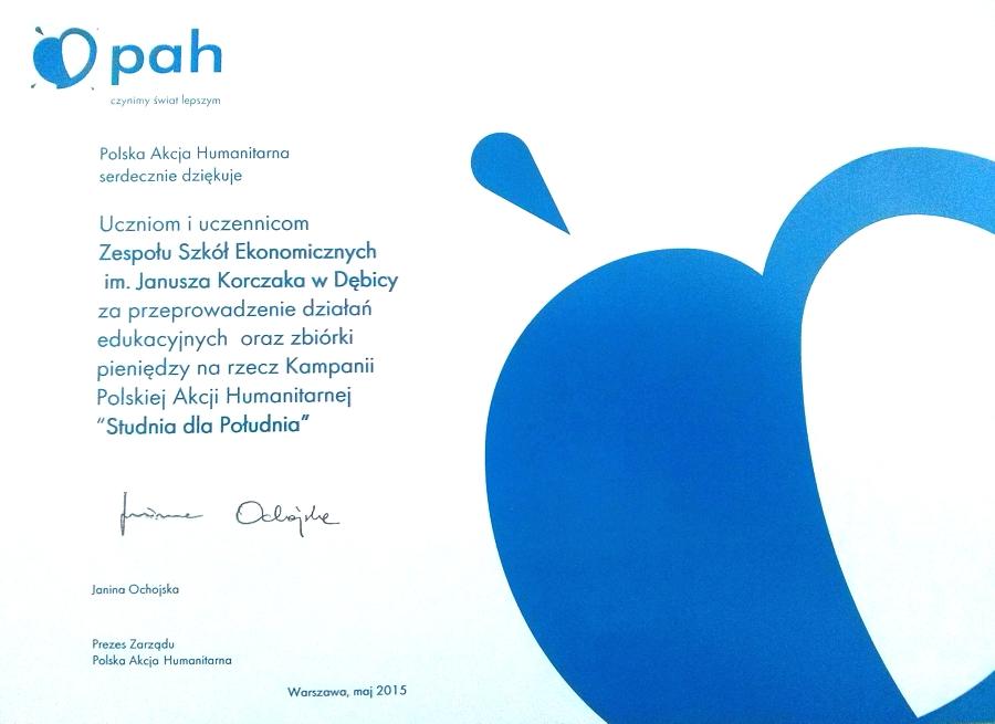 Podziękowanie dla uczniów Zespołu Szkół Ekonomicznych w Dębicy od Polskiej Akcji Humanitarnej