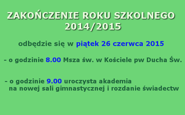 zakończenie roku 2014-2015