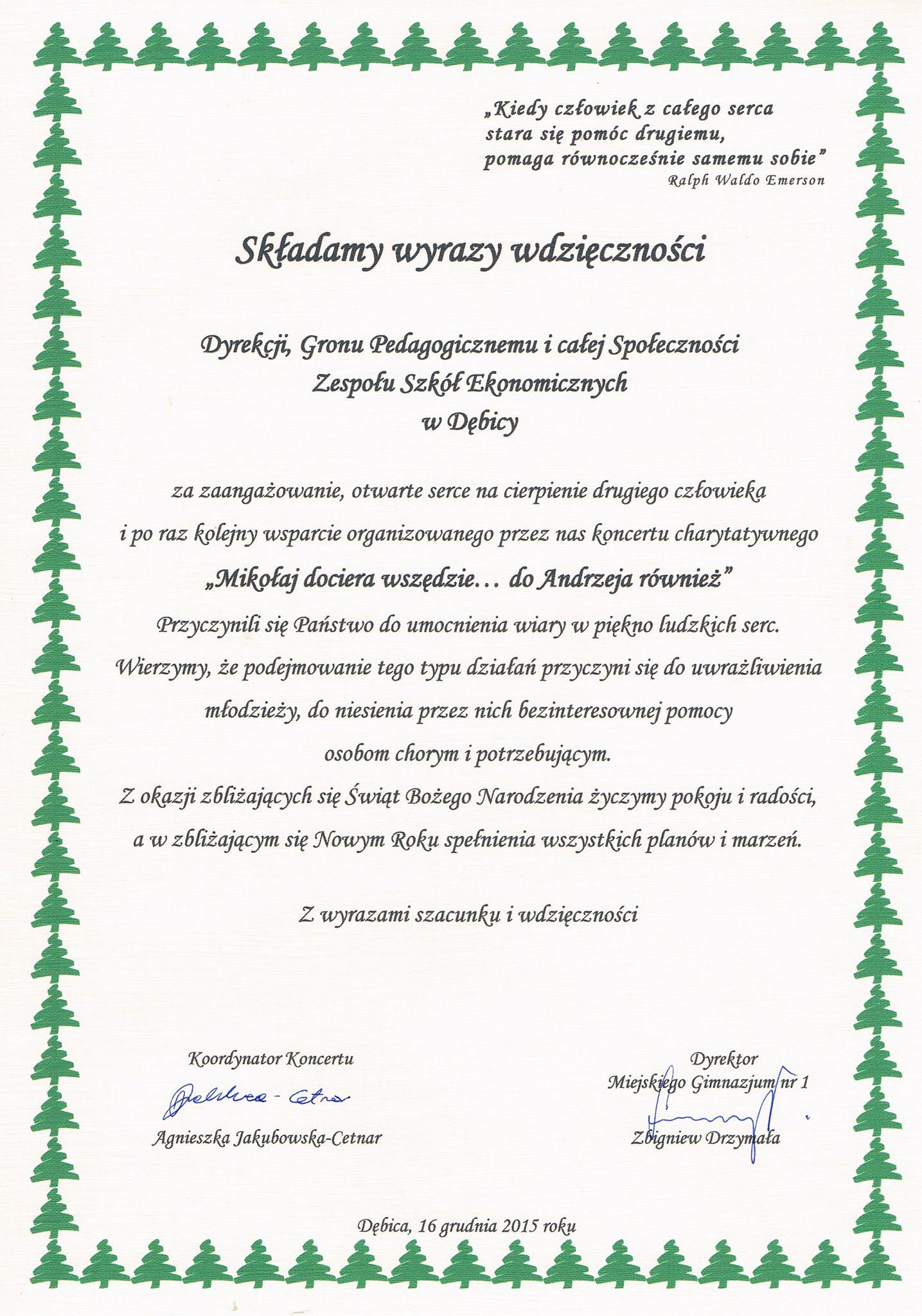 Mikołaj - dyplom