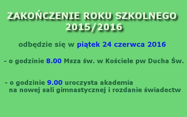 zakończenie roku 2015-2016