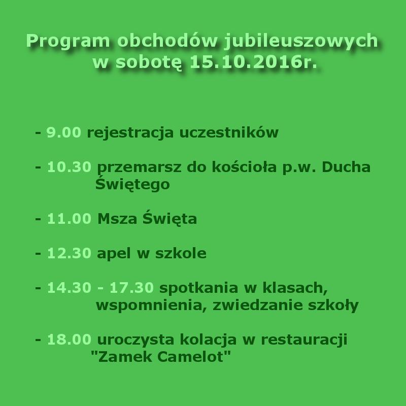 Program obchodów jubileuszowych w sobotę 15.10.2016