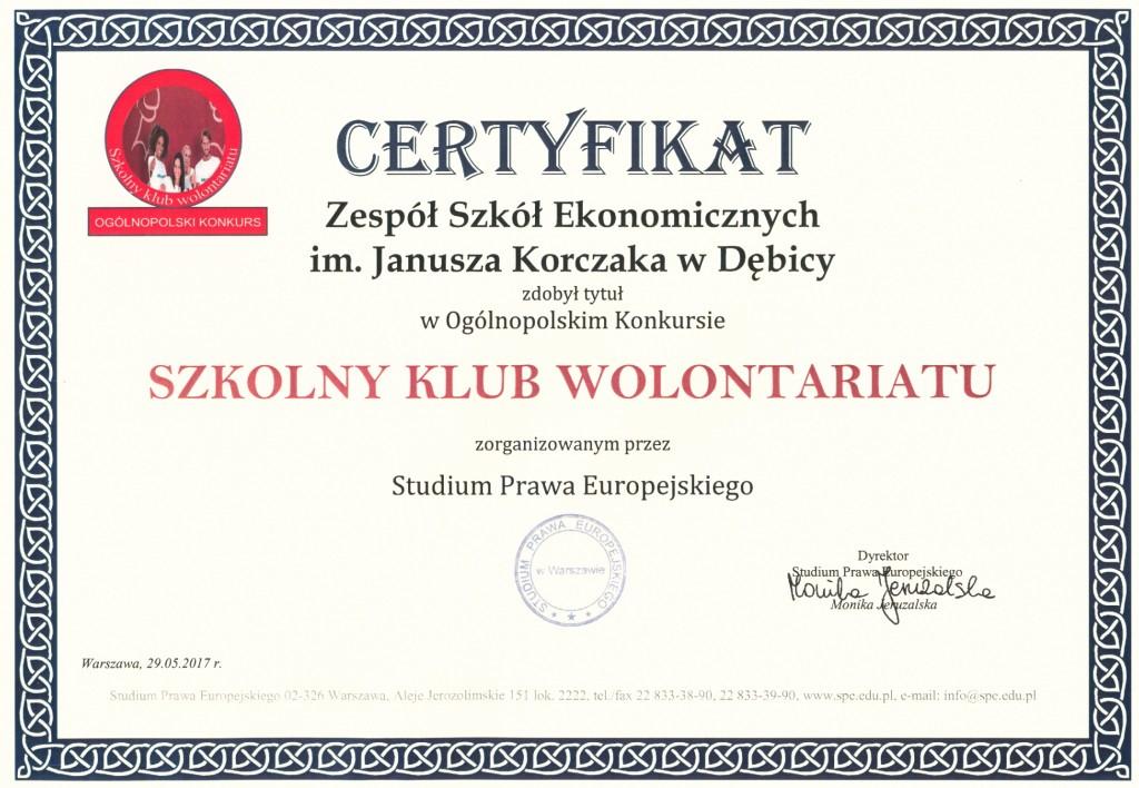 certyfikat - szkolny klub wolontariatu