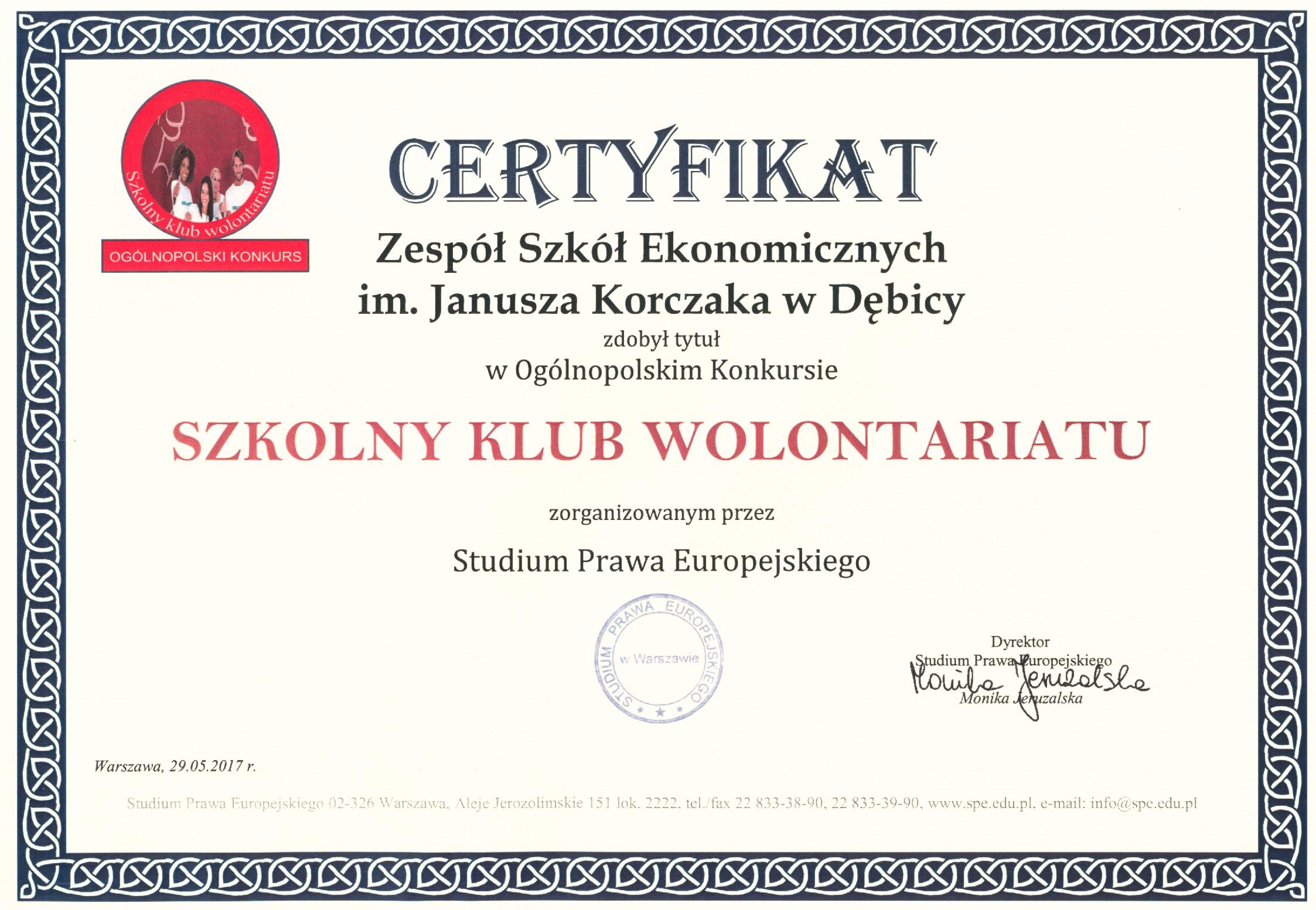 Szkolny klub wolontariatu II edycja