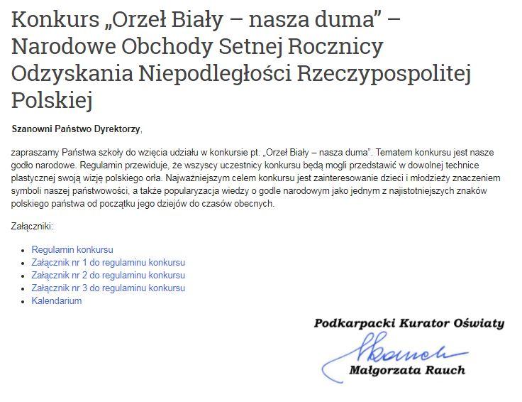 """Konkurs """"Orzeł Biały – nasza duma"""" – Narodowe Obchody Setnej Rocznicy Odzyskania Niepodległości Rzeczypospolitej Polskiej"""