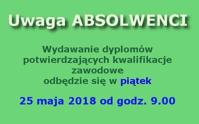 wydawanie dyplomów zawodowych 2018