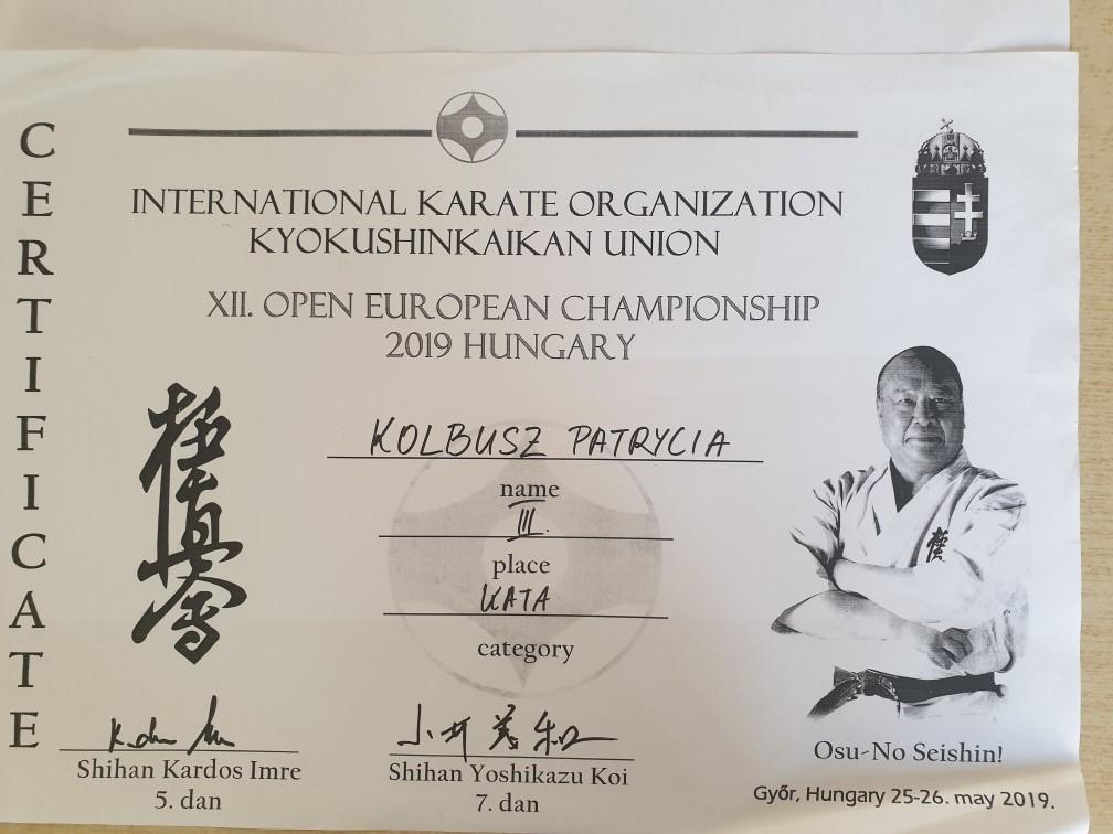 Medalistka Mistrzostw Europy All Japan Kyokushin Union
