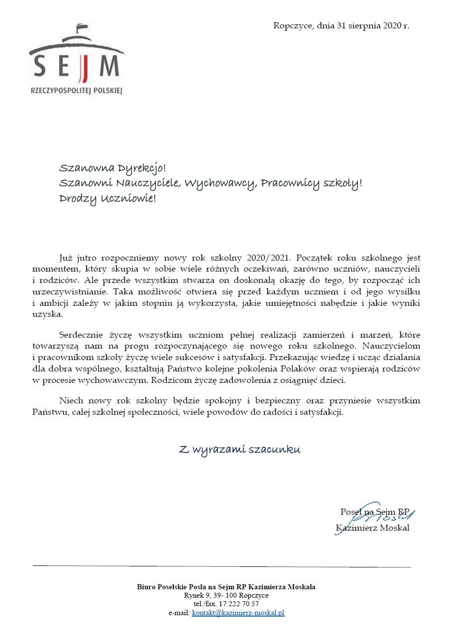 Życzenia od Posła na Sejm RP