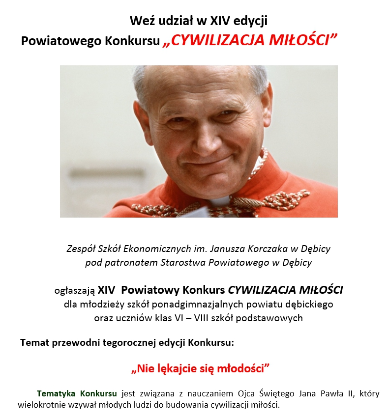 """Powiatowy Konkurs """"CYWILIZACJA MIŁOŚCI"""""""