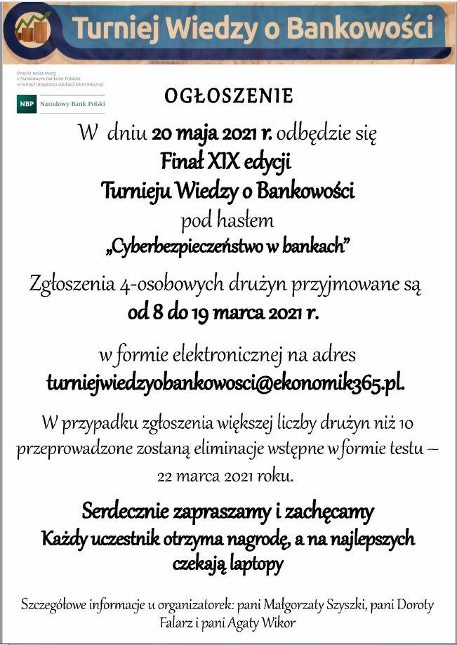 Finał XIX edycji Turnieju Wiedzy o Bankowości