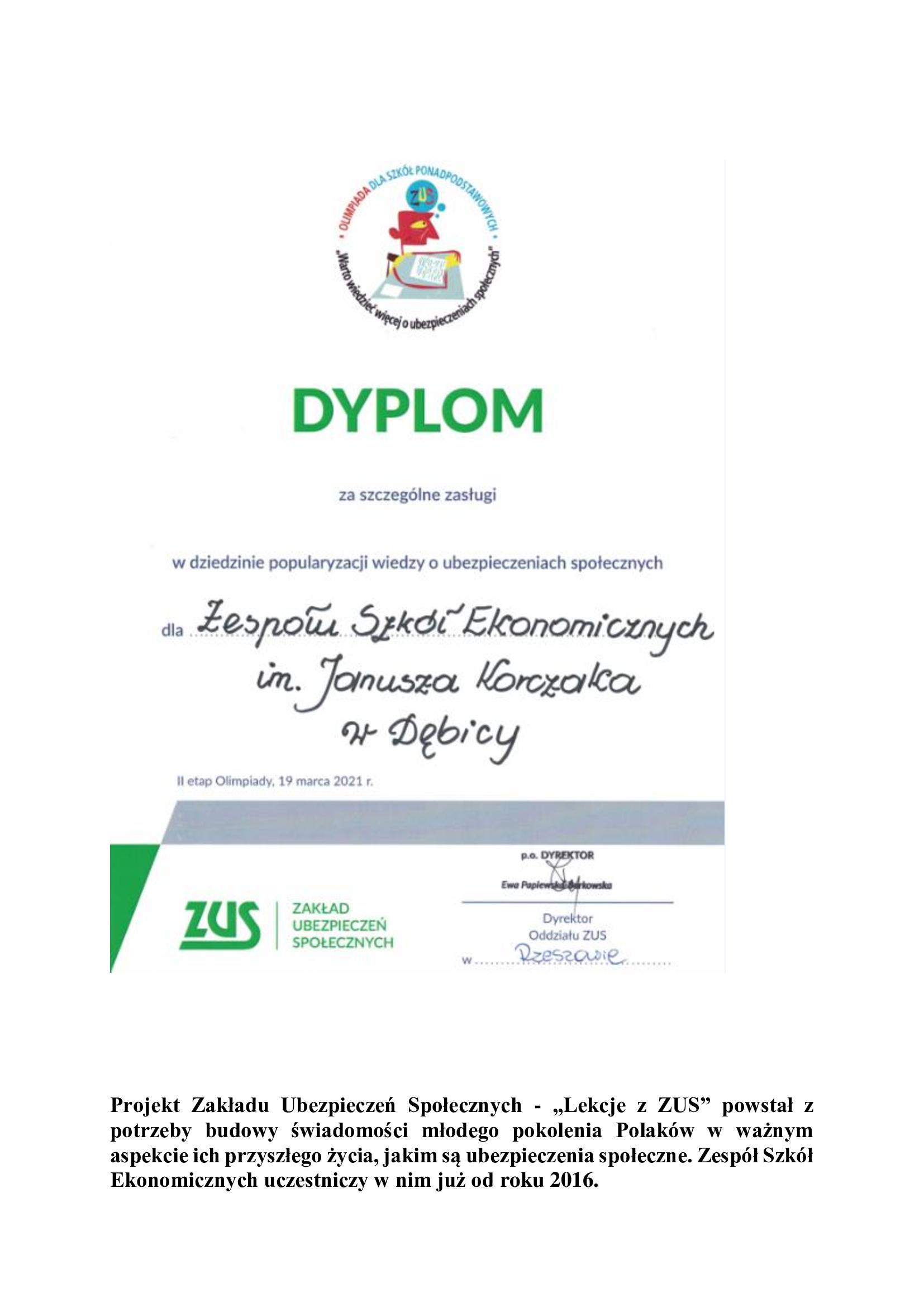 Dyplom za szczególne zasługi