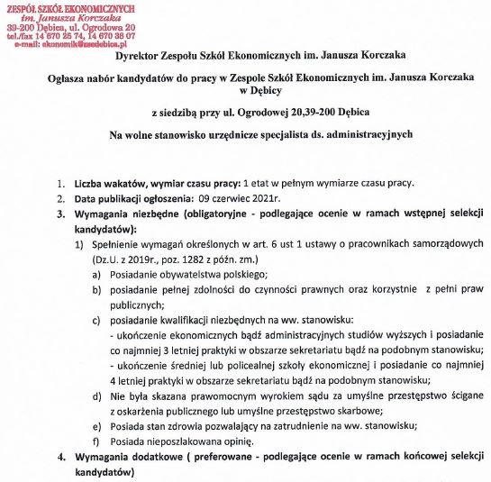 Nabór kandydatów na wolne stanowisko urzędnicze: specjalista ds. administracyjnych